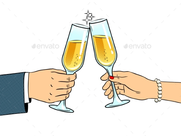 Clinking Glasses with Champagne Pop Art Vector - Man-made Objects Objects