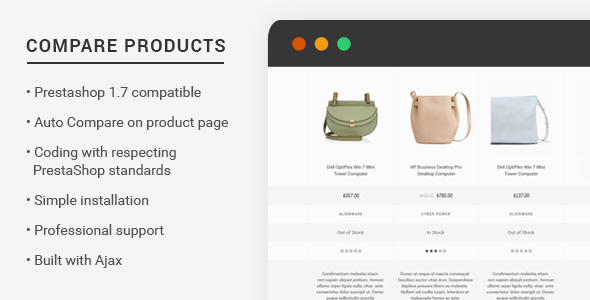 Prestashop 1.7 Compare Products - CodeCanyon Item for Sale