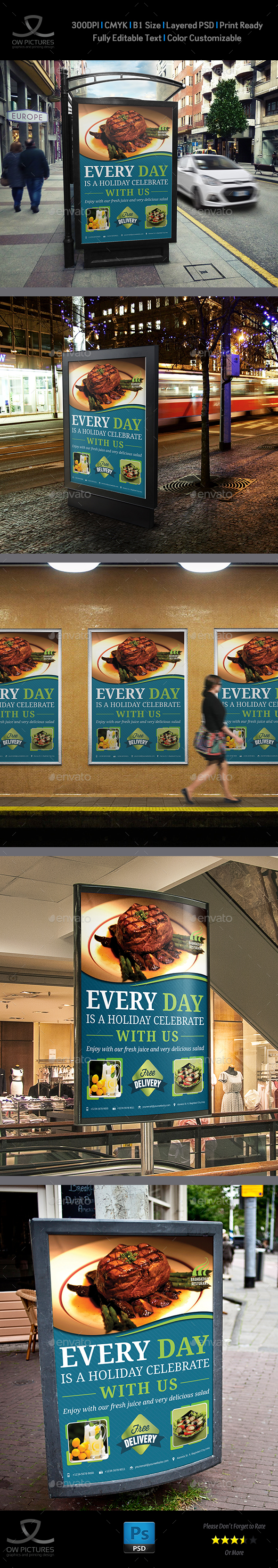 Restaurant Poster Template Vol.14 - Signage Print Templates
