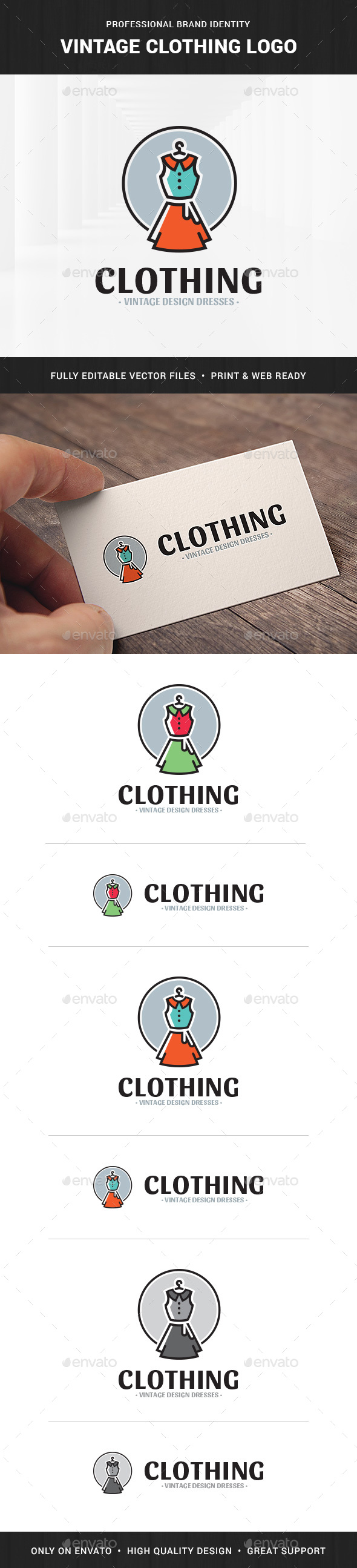 Vintage Clothing Logo Template - Objects Logo Templates