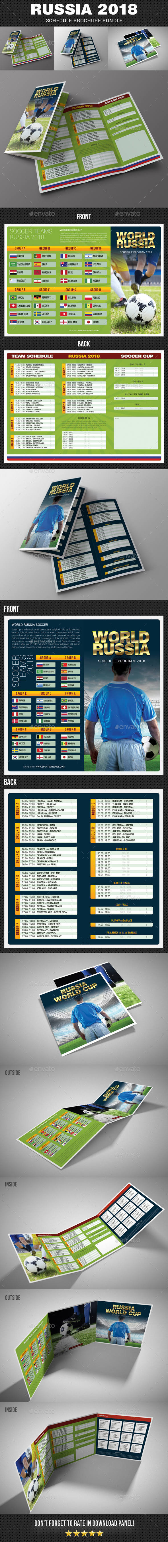 russia world soccer cup 2018 schedule brochure bundle brochures print templates