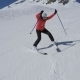 Beginner Skier Woman Turns Right And Left On Ski Slope And Hardly Did Not Fall - VideoHive Item for Sale