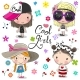 Cartoon Girls on a Flowers Background - GraphicRiver Item for Sale