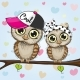 Owls Sitting on a Branch - GraphicRiver Item for Sale