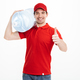 Image of smiling bottled water delivery courier in red t-shirt a - PhotoDune Item for Sale