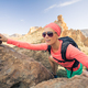 Woman hiker reached mountain top, backpacker adventure - PhotoDune Item for Sale