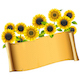 Vector Paper Placard with Sunflowers