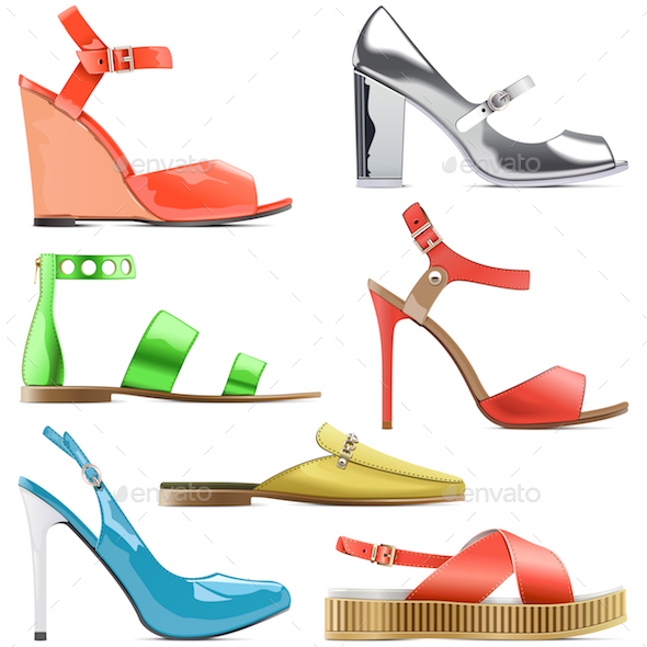 Vector Female Summer Shoes - Retail Commercial / Shopping