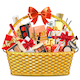 Vector Gift Basket with Makeup Cosmetics