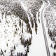 Aerial drone view of road in idyllic winter landscape - PhotoDune Item for Sale