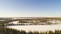 Aerial view of the lake and forest on a cold winter day sunrise - PhotoDune Item for Sale