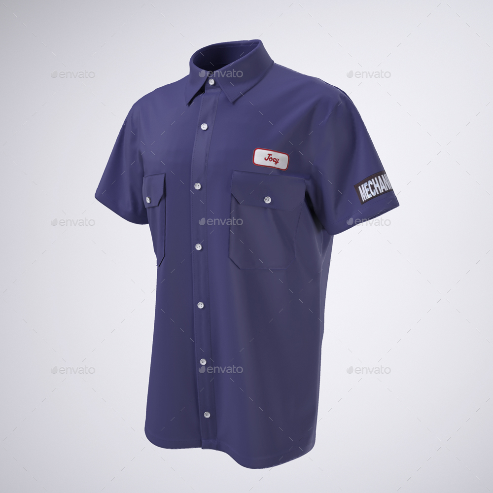 Work Shirt With Short Sleeves Mock Up By Sanchi477 Graphicriver