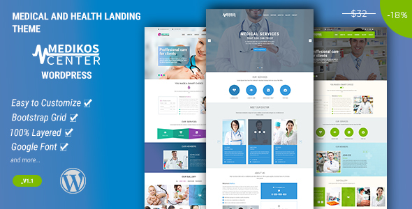 MediKos Center – Medical and Health WordPress Landing Theme