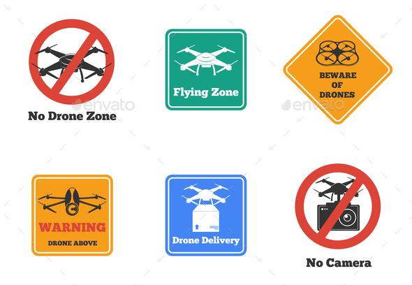 Drone Signs Set - Miscellaneous Vectors