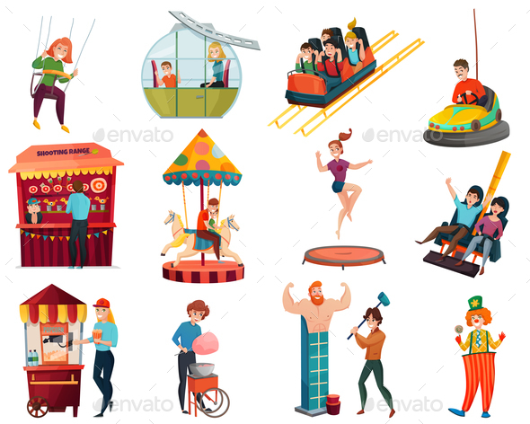 Amusement Park Isolated Icons Set - Miscellaneous Seasons/Holidays