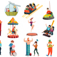Amusement Park Isolated Icons Set