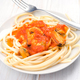 stew homemade spaghetti with prawns and mussels in white dish - PhotoDune Item for Sale