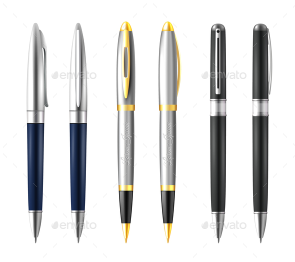 Business Pen Icon Set - Man-made Objects Objects