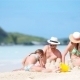 Family Making Sand Castle and Enjoying Holidays at Tropical White Beach - VideoHive Item for Sale