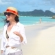Young Fashion Woman in Hat on the Beach - VideoHive Item for Sale