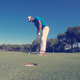 golf player hitting shot at sunny day - PhotoDune Item for Sale