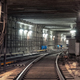 Connection of railway tracks in underground tunnel of the metro - PhotoDune Item for Sale