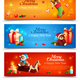 New Year Cartoon Horizontal Banners
