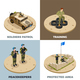 Military Service 4 Isometric Icons