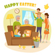 Happy Family Easter Composition