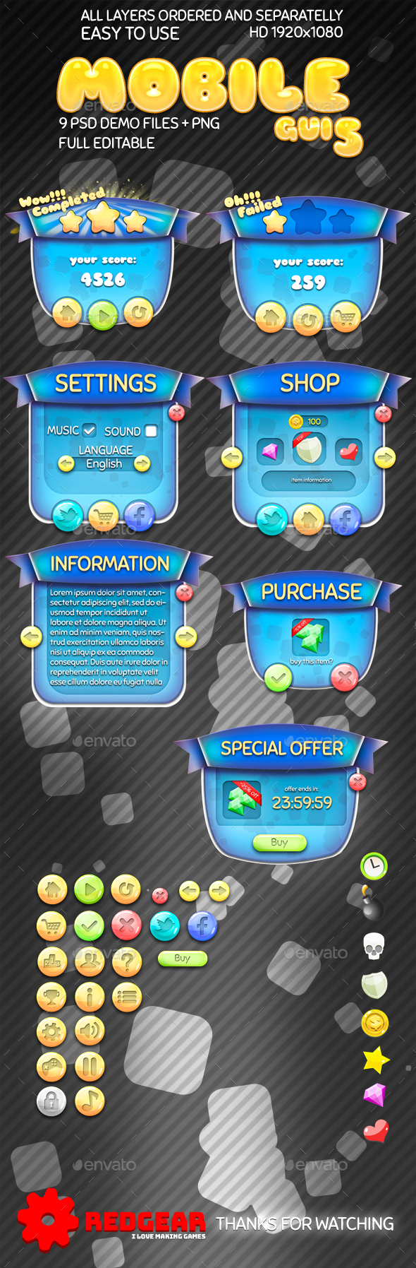 Mobile Game UI Pack #5
