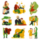 Alcohol Addiction Flat Icons Set