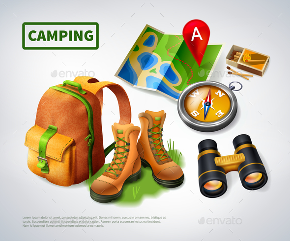 Camping Realistic Composition - Sports/Activity Conceptual