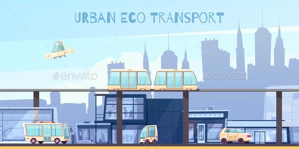 Urban Eco Transport Cartoon Illustration - Industries Business