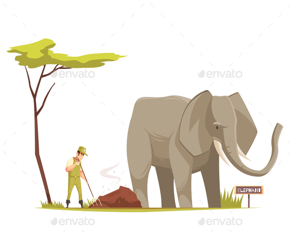 Elephant at Zoo Cartoon Composition - Animals Characters