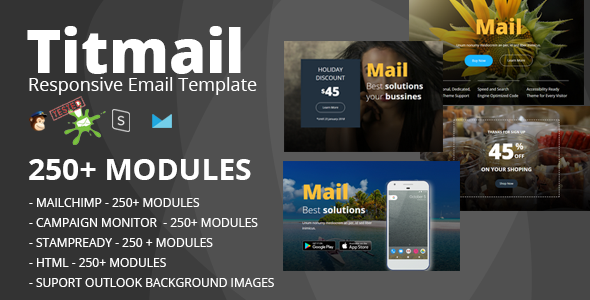 TITMAIL - Responsive Email Template (250+ Modules) + Stampready Builder - Newsletters Email Templates