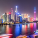 shanghai skyline in evening, light trails of pleasure boat on huangpu river - PhotoDune Item for Sale