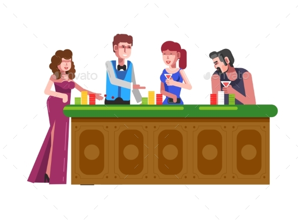 People Playing Casino Poker Vector Gambling Bets - Miscellaneous Vectors