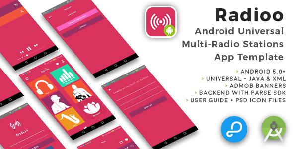 Radioo | Android Universal Multi Radio Stations App Template - CodeCanyon Item for Sale