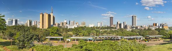 Nairobi Skyline And Uhuru Park Panorama, Kenya - Stock Photo - Images