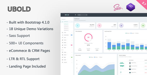 Image of Ubold - Responsive Bootstrap 4 Web App Kit