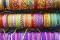 Colorful wristbands. Fabric textured background. Hand made. Horizontal - PhotoDune Item for Sale