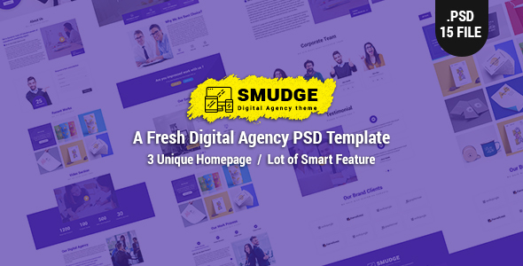 Smudge – A Fresh Digital Agency PSD Template
