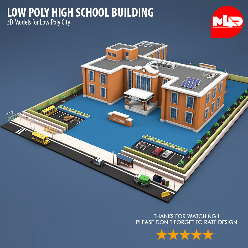 Low Poly High School Building