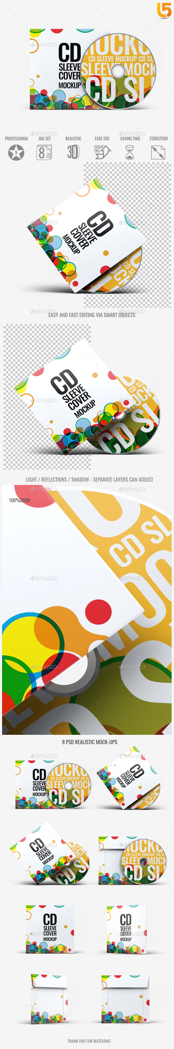 CD Sleeve Cover Mock-Up v.02 - Discs Packaging