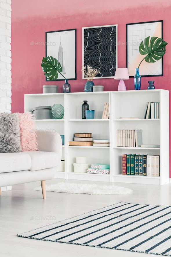 Bookshelf in living room - Stock Photo - Images