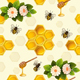 Seamless Pattern with Bees and Honeycomb