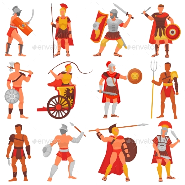 Gladiator Vector Roman Warrior Character In Armor By Vectoristik