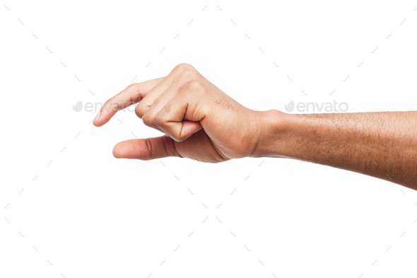 Male hand measuring something, cutout, gesture - Stock Photo - Images