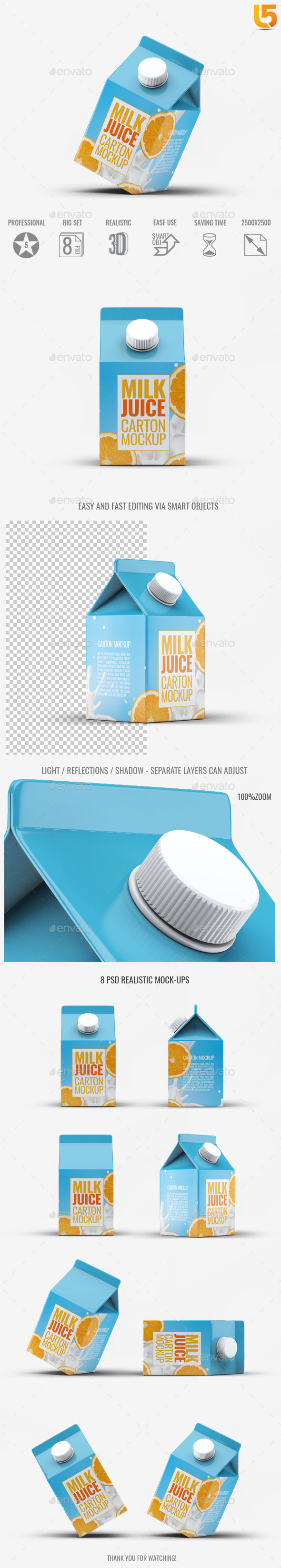 Milk or Juice Carton Mock-Up v.4 - Food and Drink Packaging