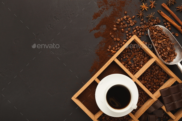 Top view on scattered coffee beans and spices, background with c - Stock Photo - Images